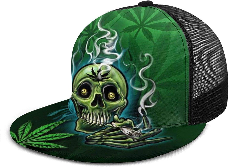 Baseball Cap Happy Skull Head Smoking Marijuana Leaf Weed Baseball Caps Unisex Snapback Flat Bill Hip Hop Hats/Hat Black