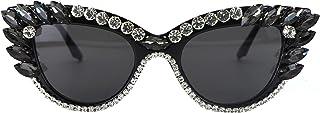 نظارات شمسية ريترو كاتاي للنساء UV400 حماية عين القط بلينغ حجر الراين نظارات الشمس