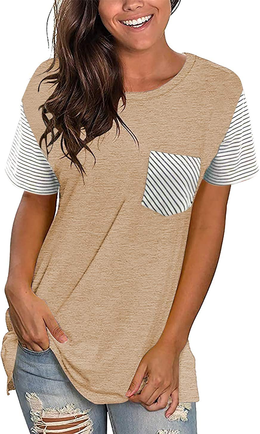 Women Striped Patchwork T-Shirt Casual Short Sleeve Round Neck Loose Fit Tops