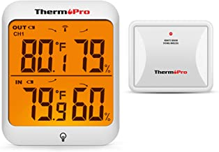 ThermoPro TP63B Waterproof Indoor Outdoor Thermometer Digital Wireless Hygrometer Humidity Gauge Temperature Monitor with Cold-Resistant Outdoor Temperature Thermometer 500ft/150m Range
