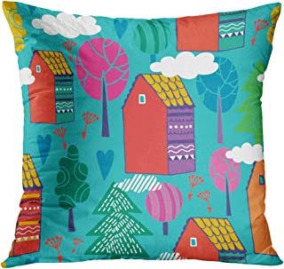 Lichtion Throw Pillow Cover Print Cute Bright Pattern Home Sweet Hand Farm Houses Seamless Abstract Art Decorative Home Decor Soft Bedroom Sofa Car Pillowcase Cushion Couch 18 x 18 Inch
