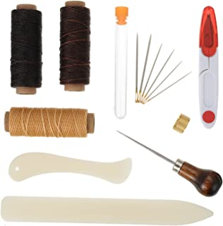 Shappy 15 Pieces Bookbinding Kit Starter Tools Set Bone Folder Paper Creaser, Waxed Thread, Awl, Large-Eye Needles for DIY Bookbinding Crafts and Sewing Supplies