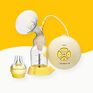 Medela, Swing, Single Electric Breast Pump, Compact and Lightweight Motor, 2-Phase Expression Technology, Convenient AC Adaptor or Battery Power, Single Pumping Kit, Easy to Use Vacuum Control