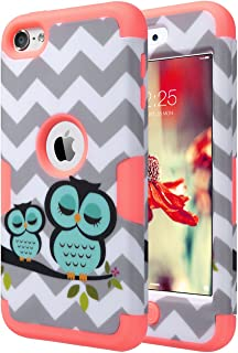 ULAK iPod Touch 7th Generation Case, iPod 6 Case, iPod Touch 5 Case, Heavy Duty Protective High Impact Design Summer Case Hybrid Skin Cover for iPod 5th/6th /7th Generation, Owl_Mint Pink