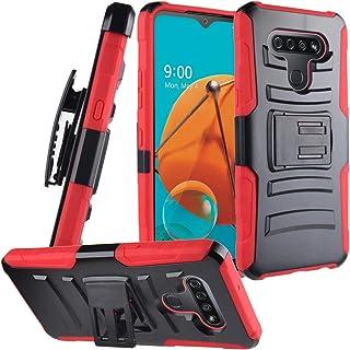 CELZEN - for LG K51, LG Reflect (LM-K500) - Hybrid Phone Case w/Stand/Belt Clip Holster - CV1 Red