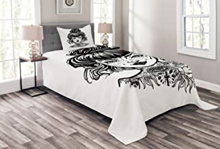 Lunarable Tattoo Bedspread, Inked Woman Portrait with Vintage Bun Hair Tattoos Piercings and Wrinkles, Decorative Quilted 2 Piece Coverlet Set with Pillow Sham, Twin Size, Charcoal Grey White
