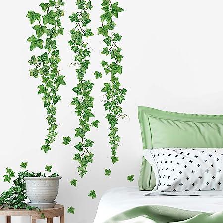 decalmile Pegatinas de Pared Hojas de Hiedra Verde Vinilos Decorativos Plantas de Vid Colgantes Adhesivos Pared Salón Dormitorio Oficina