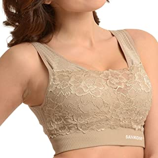 SANKOM Back Support Posture Corrector Shapewear Wireless Bra with Lace for Women (Beige, Black)