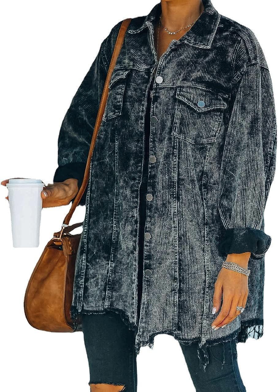 Women's Casual Vintage Oversized Corduroy Shirt Jacket Coat Lapel Collar Button Down Washed Retro Jackets