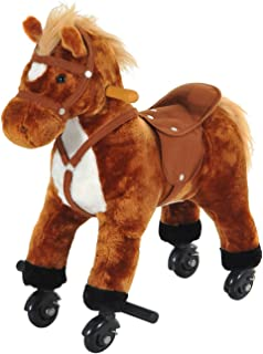 Qaba Kids Interactive Plush Mechanical Walking Ride On Horse Toy with Wheels, Brown