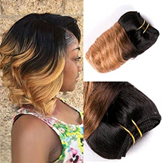 Barroko Ombre Peruvian Virgin Hair Loose Wave Balck To Blond 8 Inch Wet And Wavy Human Hair Short Bob Weave Spring Curly Wave 4 Bundle 200g Intall