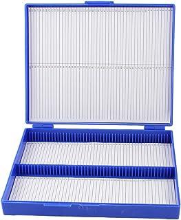 uxcell プレパラートボックス 100枚用 マイクロスライドスライド 顕微鏡ボックス ロイヤルブルー プラスチック製 長方形状