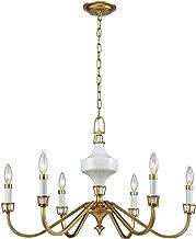 Elk Lighting 33053/6 Ceramique 6 Antique Gold Leaf Chandelier