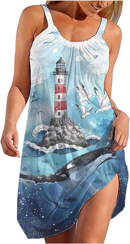 Qunkii Summer Dresses for Women Beach, Boho Floral Sundress Sleeveless Casual Loose Tank Dress Sexy Short Mini Dress