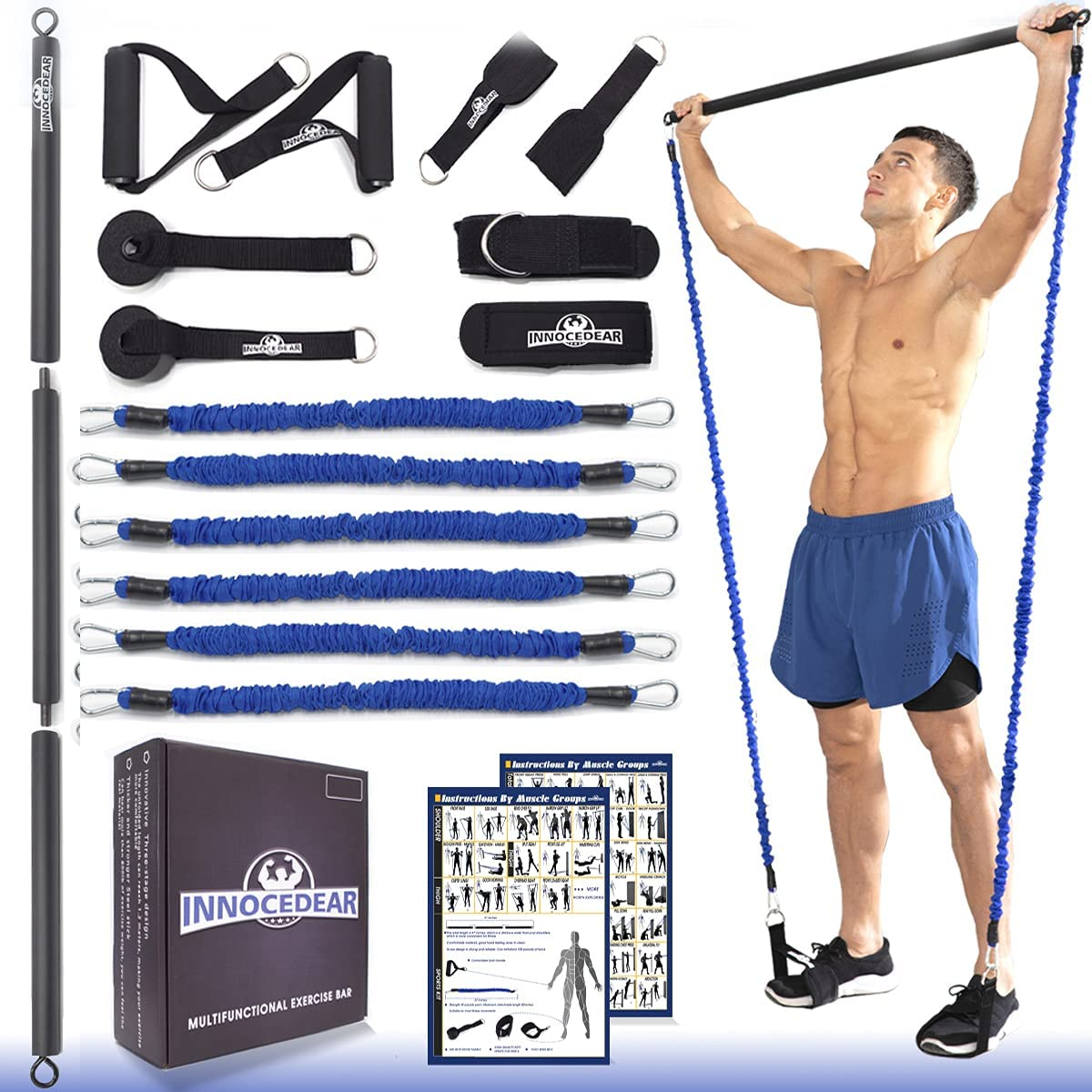 INNOCEDAR Home Gym Bar Kit with Resistance Bands,Portable Gym Full Body Workout,Adjustable Pilates Bar System,Safe Exercise Weight Set,Home Exercise Equipment for Men&Women- Muscle&Fitness