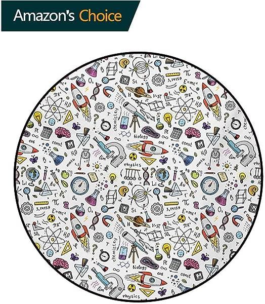 RUGSMAT 教育温暖柔软棉豪华毛绒婴儿地毯科学学校图案与公式实验室元素物理数学儿童帐篷游戏过家家圆形直径 59 英寸