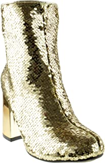 Abigale 43 Womens Sequin Chunky Heel Ankle Booties