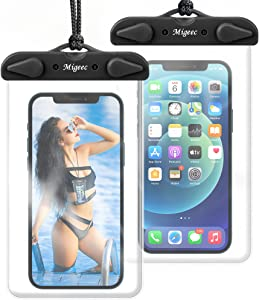 Migeec Waterproof Phone Case (2 Packs) IPX8 Waterproof Phone Pouch Dry Bag Waterproof Bag for Beach Kayaking Travel Compatible with iPhone Android Device up to 6.9