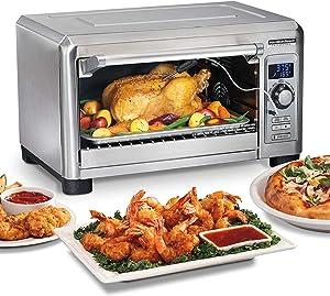 "Hamilton Beach Professional Sure-Crisp Digital Air Fryer Countertop Toaster Oven, 1500W, Fits 12"" Pizza 6 Slice Capacity, Temperature Probe, Stainless Steel (31243) (Renewed)"