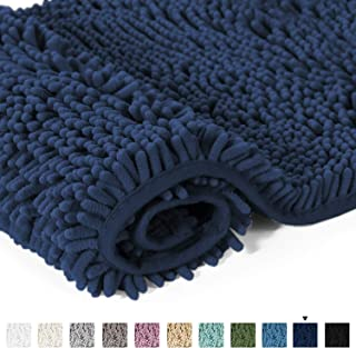 20x32 inch Oversize Bathroom Rug Shag Shower Mat Soft Texture Floor Mat Machine-Washable Bath mats with Water Absorbent Soft Microfibers Rugs for Kitchen, Navy