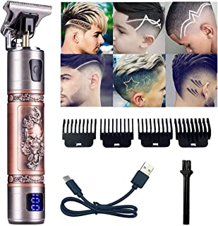 Cordless Hair Clippers For Men, Goldseaside Skull Carving Pro T Outline Clippers Trimmer, LED Display Rechargeable Professional Hair Trimmer For Hair Cutting Men Grooming Kits