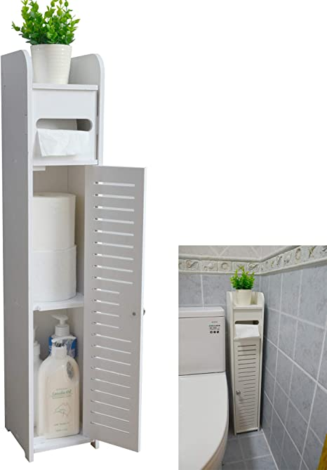 Amazon Com Small Bathroom Storage Corner Floor Cabinet With Doors And Shelves Thin Toilet Vanity Cabinet Narrow Bath Sink Organizer Towel Storage Shelf For Paper Holder White By Aojezor Home Kitchen