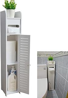 کابینت کف گوشه ای انبار حمام کوچک Aojezor با درب و قفسه ، کابینت Vanity نازک توالت ، سازمان دهنده سینک حمام باریک ، قفسه نگهدارنده حوله برای دارنده کاغذ ، سفید