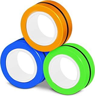 3 PCS Magnetic Rings Fidget Toy, Stress Relief ADHD Anxiety Focus Decompression Finger Fidget, Magnetic Fingertip Game, Ma...