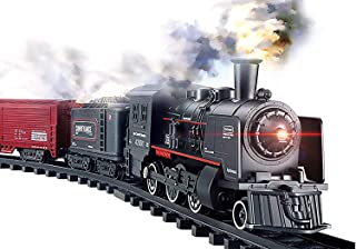 Haktoys Railway King Classical Freight Train Set Battery Operated Ready to Play Simulation Steam Locomotive Playset with Smoke, Lights and Authentic Train Sound