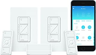 Lutron Caseta Wireless Smart Lighting Dimmer Switch (2 count) Starter Kit, P-BDG-PKG2W-A,Works with Alexa, Apple HomeKit, and the Google Assistant