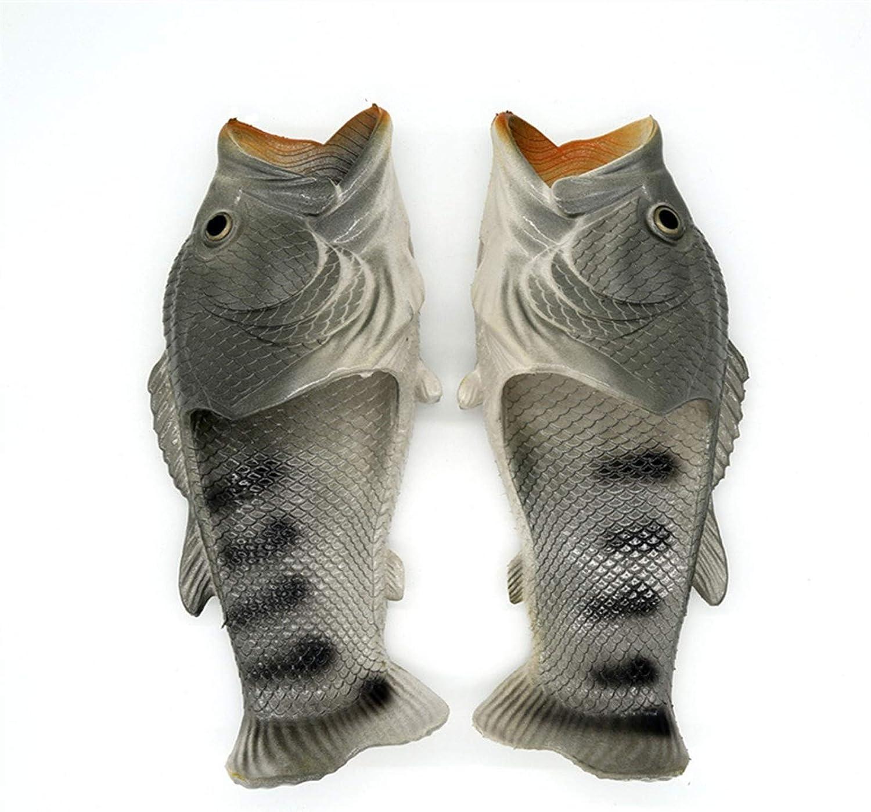 whdz Fish Flip Flops Animal Flip Flops Men Beach Shoes Non-Slip Sandals Creative Fish Slippers Men and Women Casual Shoe (Color : Gray, Size : 32-33)