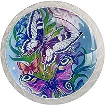 Lade knoppen ronde kristallen glazen kast handgrepen Pull 4 Pcs,Aquarel dierlijke vlinder bloem