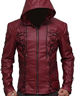 Roy Harper Movie Red Arrow Hooded Arsenal Faux Leather Jacket for Men's Offer