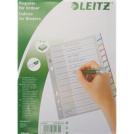 Leitz Intercalaires A5 12 Touches Vierges, Système d'Onglets Interchangeables, Gris, Plastique Ultra-Résistant, 12750000