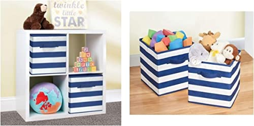 InterDesign ID jr Soft Fabric Closet Storage Organizer Holder Bin Cube Box with Handle Storage for Clothing Shoes Handbags Jeans Toys Small Navy White Pack of 2