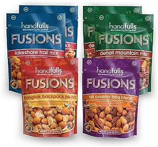 Fusions Variety (6-Pack): Lakeshore, Bangkok, Hill Country, and Denali Trail Mixes by Handfulls. Gluten-free, Non-GMO, OU Kosher, Vegetarian (3.25 oz bags)