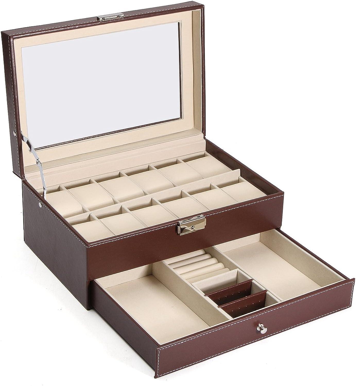 DADEQISH Holz Leder Vitrine Uhren Aufbewahrungsbox Kunststoff für Schmuck Uhrenzubehr Werkzeugzubehr