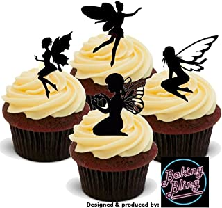 12 x Fairy Black Silhouette Mix - Fun Novelty Birthday PREMIUM STAND UP Edible Wafer Card Cake Toppers Decoration