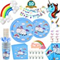 128 Pack Rainbow Unicorn Party Supplies Set