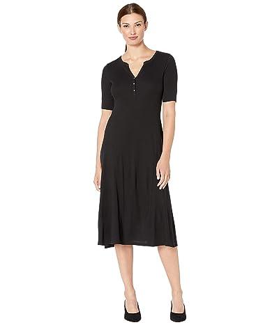 LAUREN Ralph Lauren Waffle Knit Fit-and-Flare Dress (Polo Black) Women