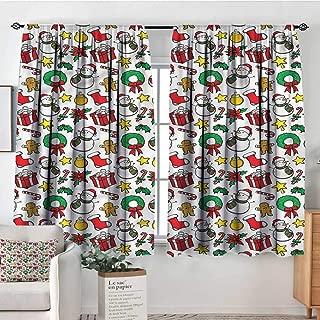 RenteriaDecor Christmas,Kid's Customized Curtains Wreath Candy Cane Snowman 52