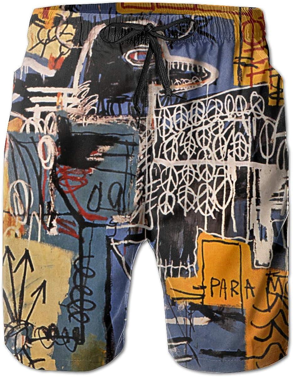 KkdsKkds Jean-Michel Basquiat Men's Summer Beach Surf Board Shorts Swimming Trunks Casual Short Pants