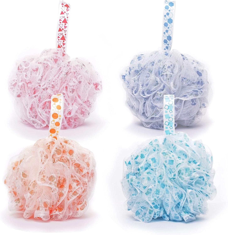 AQUAJA Shower Loofah Bath Sponge Loofah - Exfoliating Bath Shower Sponge/Pouf/Puffs/Luffa/Lufa - Exfoliate with Beauty Bathing Accessories Rich Bubbles Shower Ball Sponge for Men and Women (4 Pack): Health & Personal Care