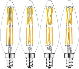 LEOOLS E12 LED Candelabra Bulb 8W LED Chandelier Light Bulbs 80W Equivalent Dimmable 2700K Warm White 800LM B11 Clear Glass Decorative Tip Vintage LED Filament Candle Bulb,4 Packs.