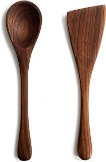مجموعة أدوات مطبخ الجوز - 30.48 سم أواني طهي خشبية يدوية الصنع مصنوعة في الولايات المتحدة الأمريكية - مجموعة ملاعق وملعقة ...
