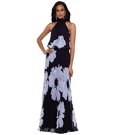 Betsy & Adam Long Mock Neck Printed Chiffon with Pleated Skirt
