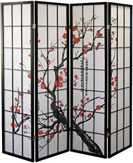 Legacy Decor 4-Panel Blossom Screen Room Divider, Black