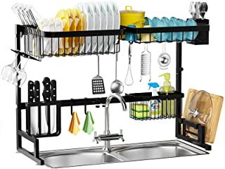 Over The Sink Dish Drying Rack - MERRYBOX 2-Tier Dish Drying Rack Over Sink Adjustable Length(25.6-33.5in), Stainless Stee...