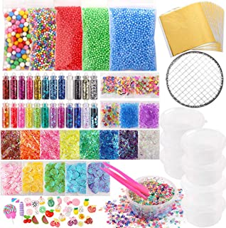 Holicolor 110pcs Slime Making Supplies Kit Slime Add in Include Foam Balls, Fishbowl Beads, Glitter Sequins Accessories, Shells, Candy Slime Charms, Slime Containers for Slime Party