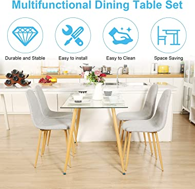 Modern Dining Room Table Set 5 Pieces Dining Table Set for 4 - Rectangle Glass Dining Table with 4 Grey Fabric Dining Chairs